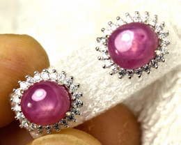 19.0 Tcw. Ruby Sterling Silver Earrings - Gorgeous
