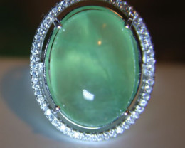 Prehnite 20.20ct White Gold Finish Solid 925 Sterling Silver Ring       Siz