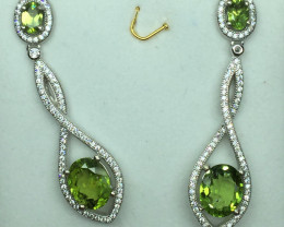Natural Beautiful Peridot   Earrings With A 925 Starling Silver.