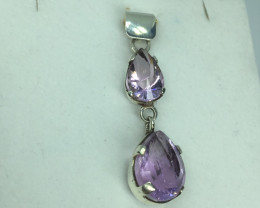 Natural Beautiful Amethyst pendant  With A 925 Starling Silver.