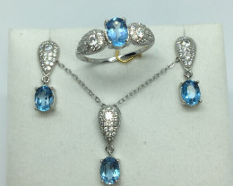 Natural Beautiful swiss Blue Topaz  Full Sit With A 925 Starling Silver.