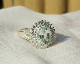 Natural 25 carat aquamarine 925 Silver Ring. Size 8.