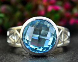 Stunning Genuine Blue Topaz Ring In Silver