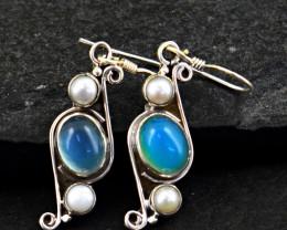 Stunning Genuine Chalcedony Earrings In Silver