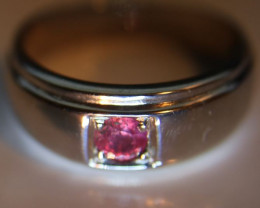 Ruby .38ct Platinum Finish Solid 925 Sterling Silver Mens and Boys Ring