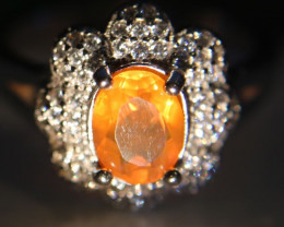 Orange Opal .60ct Platinum Finish Solid 925 Sterling Silver Ring    Size 8.