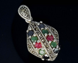 STUNNING RUBY  EMERALD AND SAPPHIRE 925 SILVER PENDANT21