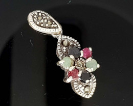 RUBY EMERALD AND SAPPHIRE 925 SILVER  PENDANT