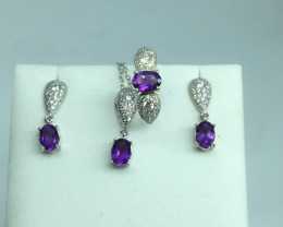 Natural Beautiful Amethyst Full Sit With A 925 Starling Silver.