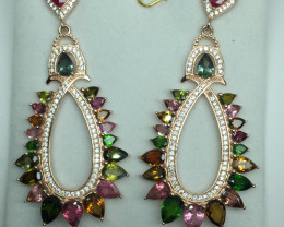 Natural Beautiful Ruby and Tourmaline  stones  Earrings With A Rose Gold 92