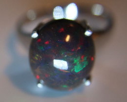 Black Opal 12.10ct Platinum Finish Solid 925 Sterling Silver Solitaire Ring
