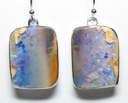 30.35ct Boulder Opal Earrings Silver Bezel Set