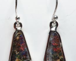 6.73ct Boulder Opal Earrings Silver Bezel Set