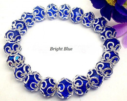 Filigree Silver Plated Flower Crystal Stretch Bracelet