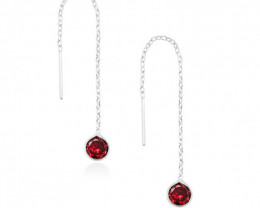 925 Sterling Silver Threader Earrings With  Red CZ