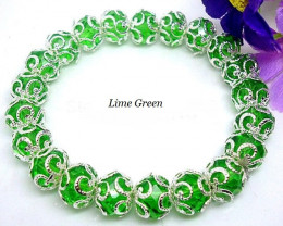 Filigree Silver Plated Flower Crystal Stretch Bracelet-Lime Green