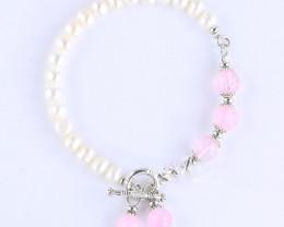 Cultured Freshwater Pearl and Semi Precious Stone Toggle Bracelet