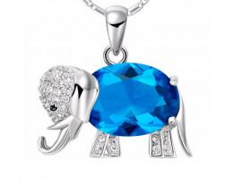Elephant Pendant Necklace Rainbow Mystic Blue