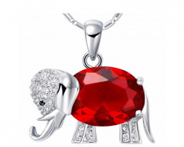 Elephant Pendant Necklace  Rainbow Mystic Red