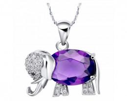 Elephant Pendant Necklace Rainbow Mystic Purple