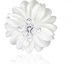 925 Sterling Silver Flower Push-Back Earrings With CZ & Shell
