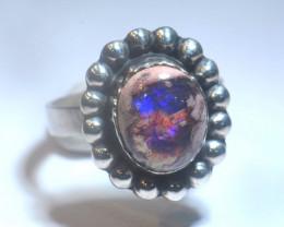 5.75sz Mexican Matrix Cantera Multicoloured Fire Opal Ring