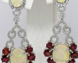 Ruby, Welo Opal and Zircon Earrings 6.60 TCW