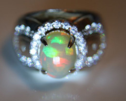 Opal 5.51ct Platinum Finish Solid 925 Sterling Silver Ring     Size 7.75