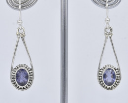 IOLITE EARRINGS 925 STERLING SILVER NATURAL GEMSTONE JE359