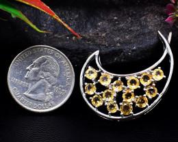 Stunning Genuine Citrine Pendant In Silver