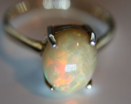 Chocolate Opal 4.92ct Rhodium Finish Solid 925 Sterling Silver Solitaire Ri