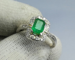 Natural Green Emerald From Laghman 18.70 Carats 925 Silver Ring