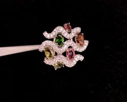 Natural Tourmaline and  zircon beautiful Fancy Ring