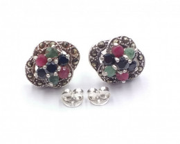 RUBY EMERALD SAPPHIRE MIXED 925 SILVER EARRING  A 12