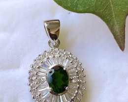 Natural Chrome Diopside and Zircon pendent