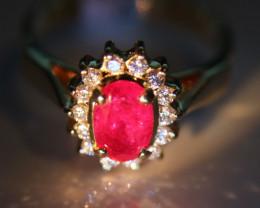 Burmese Ruby 1.57ct Natural Diamonds Solid 18K Yellow Gold Halo Ring    Siz