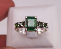 Natural tourmaline  with chrome  diopside ring