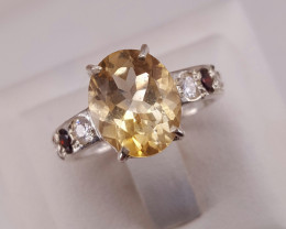 A Stunning Citrine Ring With CZ in Silver