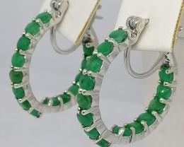 Zambian Emerald Hoop Earrings 3.00 TCW