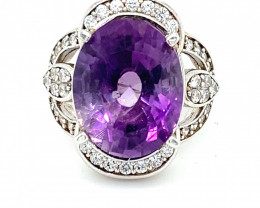 Amethyst 4.40ct Platinum Finish Solid 925 Sterling Silver Ring   Size 4.75