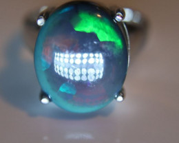 Blue Opal 6.73ct Platinum Finish Solid 925 Sterling Silver Ring