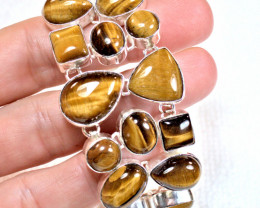 250.0 Total Carat Weight Tiger Eye / 9.25 Sterling Silver Bracelet - Beauti