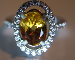 Citrine 1.62ct Platinum Finish Solid 925 Sterling Silver Ring     Size 5