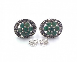 NATURAL EMERALD  925 SILVER EARRING  A 15