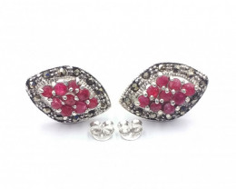 NATURAL RUBY 925 SILVER EARRING  A 16