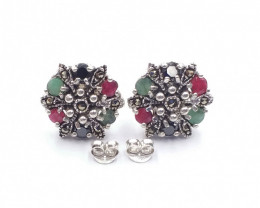 RUBY EMERALD SAPPHIRE MIXED 925 SILVER EARRING A 18