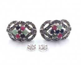 RUBY EMERALD SAPPHIRE MIXED 925 SILVER EARRING  A 19