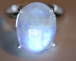 Moonstone 6.49ct Platinum Finish Solid 925 Sterling Silver Ring   Nice Blue