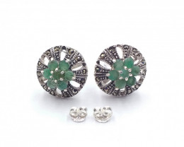 NATURAL EMERALD 925 SILVER EARRING  A 22