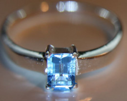 Blue Topaz .65ct Platinum Finish Solid 925 Sterling Silver Solitaire Ring